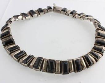 Vintage ANTONIO PINEDA 970 Sterling Silver Black Onyx Link Necklace Collar Taxco