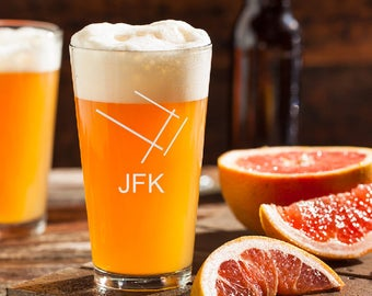 JFK Airport Beer Glass, Pilot Beer Glass, JFK, Airport Code Beer Glass, Runway Beer Glass, Gift for Pilot, Pint Glass, Etched Beer Glass