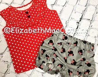 Ruffled Bib t-shirt and Minnie shorts set: 12 months to 6
