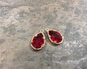 Ruby Red Bezel Set Faceted Glass Charms Teardrop Shaped Faceted Pendant Charms  in Gold finish
