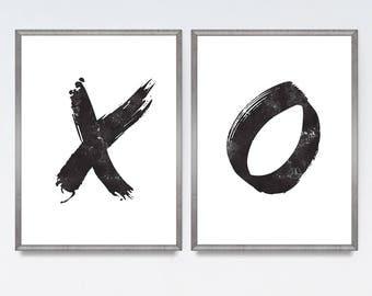 X and O art, Printable poster, Printable set of 2, Minimalist art, XO print set, XO, Brushstroke art, Black and white,