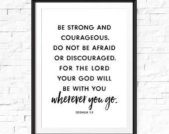 Seien Sie mutig und stark Druck, Joshua 1 9, Kinderzimmer, Christian Kindergarten melden, kinderzimmerdekor, Bibel-Vers, Housewarminggeschenk