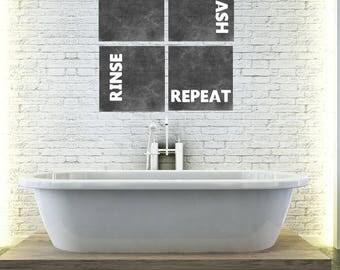 PRINTABLE Chalkboard Bathroom Wall Art Bathroom Artwork   Lather Wash Rinse  Repeat   Chalkboard Artwork
