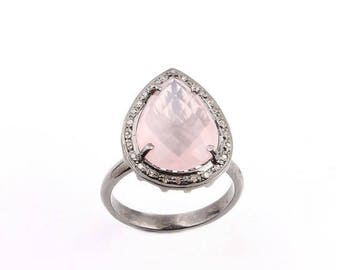 Valentine Day Sale 1 PC Pave Diamond Becautiful Rose Quartz Pear Ring - 925 Sterling Silver Diamond Ring Size- 8 RD064