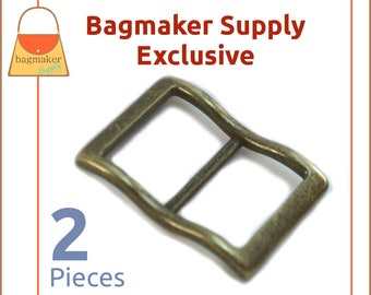 1 Inch Large Mouth Curved Slide Buckle for Thick Straps, Antique Brass / Bronze Finish, 2 Pack, Great For Leather, Purse, BKS-AA127