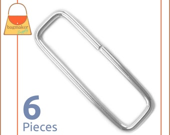 "2 Inch Rectangular Wire Loops / Rings, Nickel Finish, 6 Pieces, Handbag Purse Bag Making Hardware Supplies, 2"", RNG-AA052"