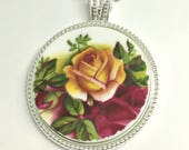 Valentine gift for her,Necklaces,Rose jewelry,Gift for woman,gift for wife,girlfriend gift,gift for mother,broken china, Old Country Roses