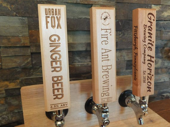 Custom Tap Handle Engraved on Maple, Cherry, Walnut or White Oak Wood,