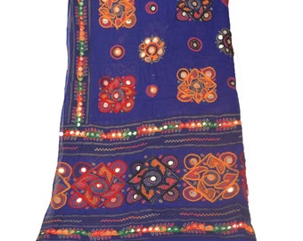 KK Dupatta Long Stole Cotton Blue Hand Embroidered Kutch Scarves