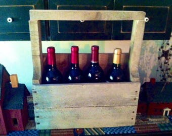 Rustic Wooden Wine Carrier, Reclaimed Wood Wine Caddy, Antique Wine Crate With Handle, Wine Bottle Tote With Handle, Four Bottle Wine Caddy