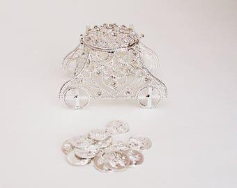 """Elegant Silver Rhinestone Carriage Wedding Arras with 13 coins set 3.5"""" X 2"""" X 2.4"""""""