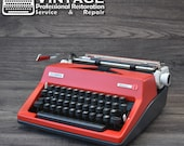Serviced Olympia SM8 MONICA Typewriter Red  White Working Black Ribbon Vintage