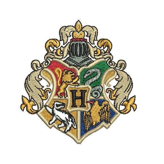 Harry potter hogwarts crest embroidery design in sizes