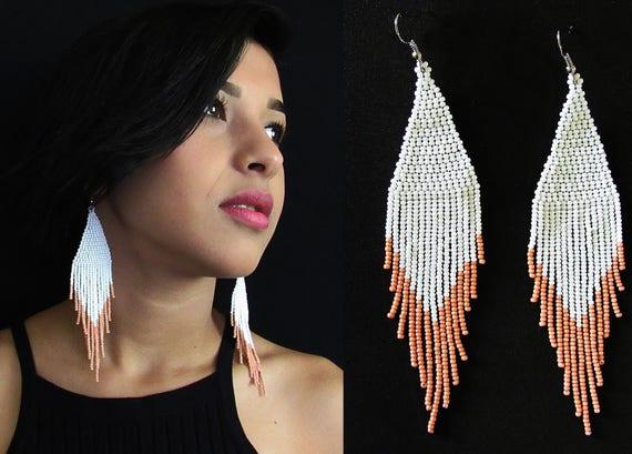 Beaded Boho Earrings, Tribal High Fashion Earrings, Native American Style Beaded Earrings, Pink White Earrings, Authentic Huichol Beadwork