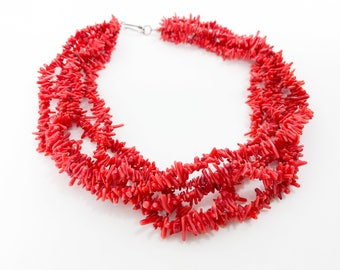 Red Branch Coral Necklace | 5 Strand Necklace