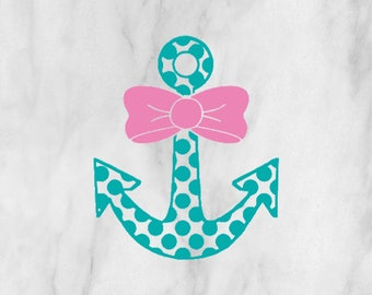 Anchor Bow Decal / Monogram sticker / yet cooler monogram decal / laptop decal / car decal /circle monogram