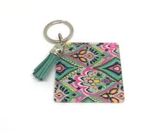 Paisley Acrylic Blanks, 2.25 Inch Square with 1 Hole, tassel Keychain blanks, blank acrylics, square keychains, monogram keychain, tassel