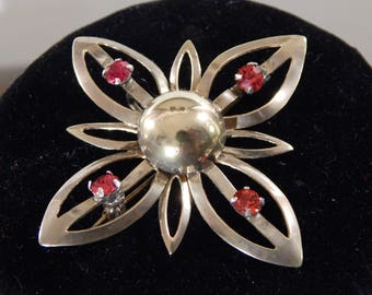 ANTIQUE 1900s 14Kt Rolled-Gold Figural Floral and Cross Brooch-Pendant with Ruby Crystal Accents