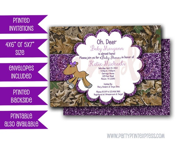Purple Camo Oh Deer Baby Shower Invitations Camouflage Baby Shower