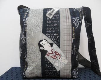 """Bag in Japanese fabric and piece of kimono """"Writer"""""""