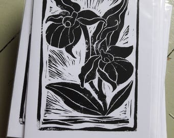 Iris lino-cut card