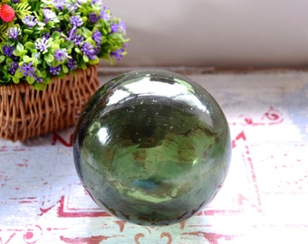 Vintage green glass fishing float / old green glass fishing float / vintage green glass buoy / vintage green glass ball / old fishing float