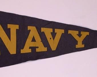 Circa 1940's Navy Full Sized Pennant - Early Annapolis Naval Academy Memorabilia