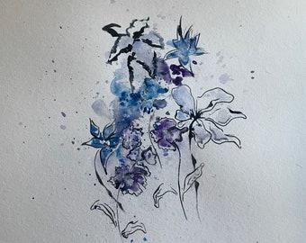 Purple Flowers Watercolor Painting