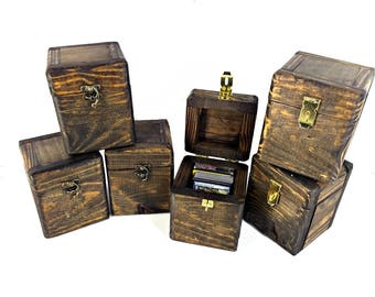 Rustic Wooden Card Deck Box with Lockable Latch - Trading Card Game Box, Playing Card Storage, Sports Cards Box, Small Wood Collector's Box