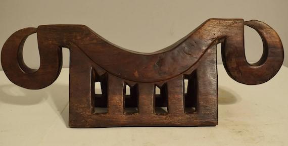 African Dinka Headrest Congo Zoomorphic Shape Stool Wood Headrest