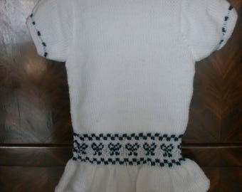 Navy and white knitted baby ruffle dress