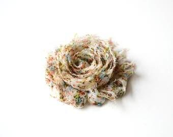 Frayed fabric flower flower diameter 6 cm / FE004
