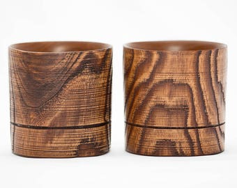 Whisky glass of natural Elm wood (set 2pcs) exlusive handmade WOODEN WHISKY GLASS #WN1