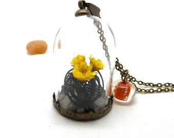 Necklace yellow bouquet glass bead spun orange