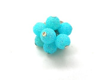 Ring silver blue glitter beads