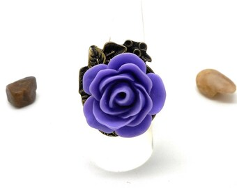 Ring bronze cabochon flower purple flower charms and co.