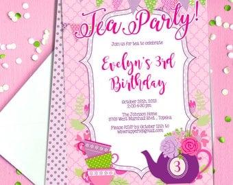 Tea party invites Etsy