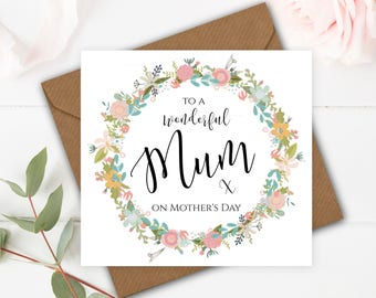 Floral Garland Handmade Mother's Day Card for Mum on Mothering Sunday