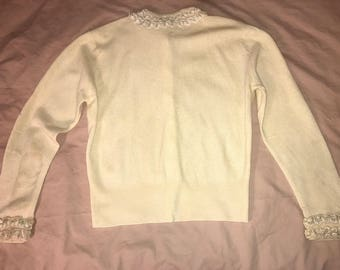 Lovely Pale Baby Yellow Dalton Pure Imported Cashmere Sweater with Beige Pearl Trim &  Pearl Buttons