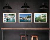 Amalfi Coast Capri Southern Italy Coastal Beach Photography, Large Format Photo Prints, Matted Photo Print Set of 3, Lover's Rock Romantic