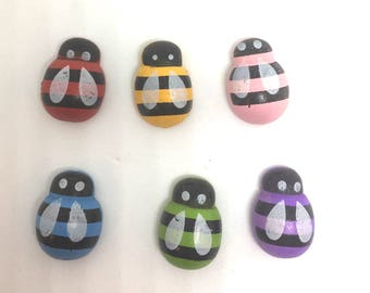 Colored Bug Wood Push Pins Thumb Tacks x7 Mix and Match Color.