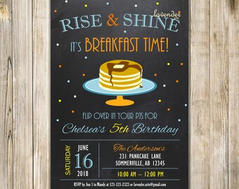 CHALKBOARD RISE and SHINE It's Breakfast Time Invitation, Pancakes & Pajamas 5th Birthday Invite, Blue Orange Yellow Boy Sleepover Party
