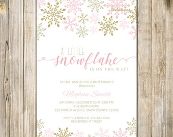 PINK GOLD SNOWFLAKE Baby Shower Invitation, Little Snowflake On Its Way, Snowflakes Baby Shower Invite, Winter Baby Shower, Baby Its Cold