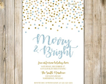 Blue Gold Glitters MERRY and BRIGHT Invite, Holiday Party Flyer, Holly & Jolly, Christmas Invites, Xmas Company Party, Holiday Announcement