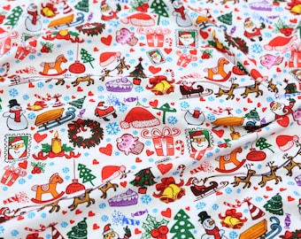 In stock one fat quarter childrens fabric on sale cotton lycra spandex knit,eco CPSIA certified cartoon snowmen christmas fabric for baby
