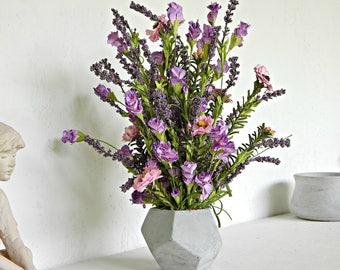 Small Flower Arrangement, Wildflowers, Faux Floral, Artificial Flower Arrangement, Silk Flowers, Lavender and Pink Floral