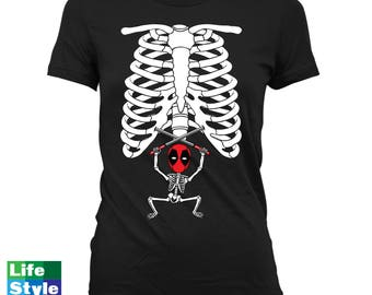 Halloween Skeleton Shirt Maternity Announcement T-shirt (Deadpool 2) Pregnant Skeleton Baby Shirts Pregnancy Halloween Costume Tee CT-1322