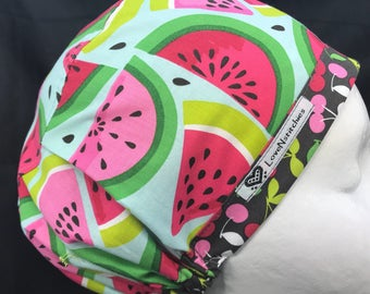 Watermelon Scrub Hats for Women Euro European Style Medical Surgery OR Surgical Cap OR Tech Nurse LoveNstitchies Pink Blue Cherries Cute