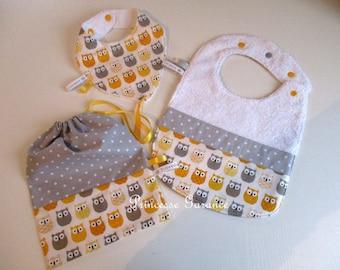 Baby box, birthday gift - yellow/gray owls Theme