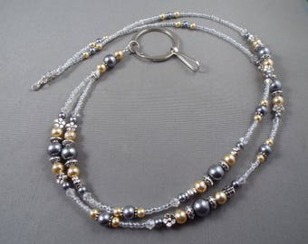 "Beaded breakaway lanyard beige and gray glass pearls and crystals 32"" to 44"" ID badge holder with magnetic or toggle clasp  ,unique fashion"